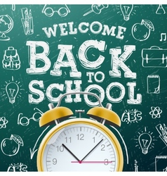 Back to school background with alarm clock vector image vector image