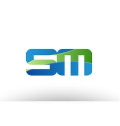 blue green sm s m alphabet letter logo vector image