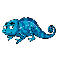Blue lizard with happy face vector
