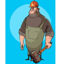 cartoon burly male worker in a helmet vector image vector image
