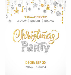 christmas party poster template gold and silver vector image vector image