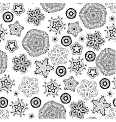 christmas snowflakes black and white pattern vector image vector image