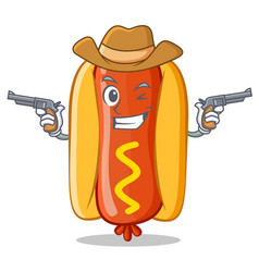 Cowboy hot dog cartoon character vector