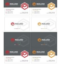 e hexagon business card 1 vector image
