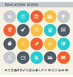 Educational icon set Multicolored square flat vector image