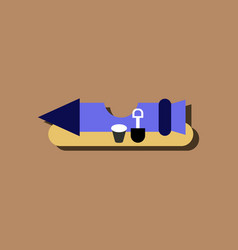 Flat icon design space rocket in sticker style vector