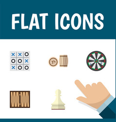 Flat icon games set of dice pawn arrow and other vector