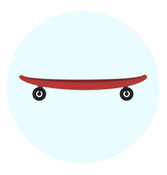 flat red skateboard icon vector image