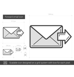 Forward email line icon vector