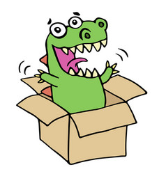 Funny dinosaur jumped out of the box vector