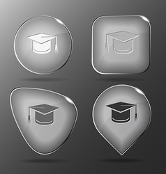 Graduation cap Glass buttons vector image