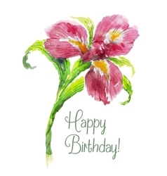 Greeting card happy birthday with red watercolor vector