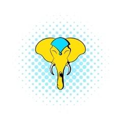 Head of elephant icon comics style vector