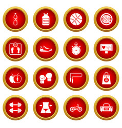 Healthy life icon red circle set vector