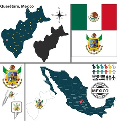 Map of Queretaro vector image vector image