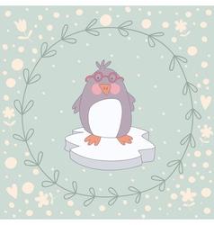 Penguin Christmas wreath vector image