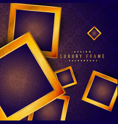 Purple vintage golden frame luxury background vector