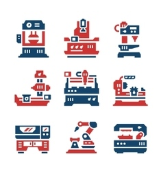 Set color icons of machine tool vector