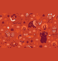 Stone age pattern in red colors vector