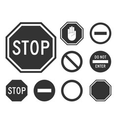 stop road sign set vector image vector image