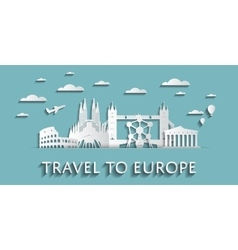 Travel to europe concept cityscape silhouettes vector