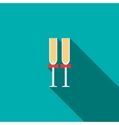 Two glasses of champagne icon flat style vector image vector image