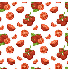 Vegetable organic food sliced red tomato and bunch vector