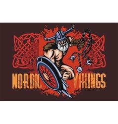 Viking norseman mascot cartoon with bludgeon and vector image