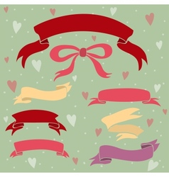 Wedding ribbons set hearts and bow vector