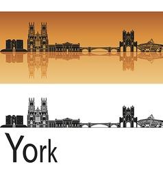 York skyline in orange background vector