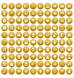 100 cow icons set gold vector
