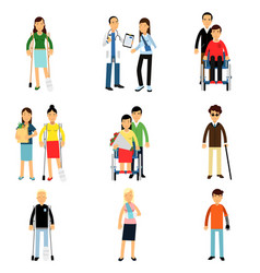Disabled people characters handicapped men and vector