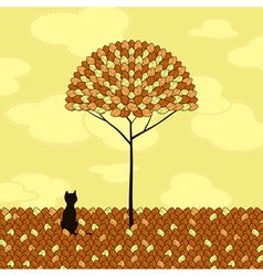 Lonely cat tree autumn vector