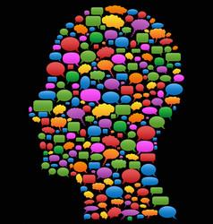 Speech bubbles in head profile vector