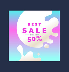 Bright colorful poster sale 50 percent with vector