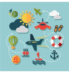 Flat summer vacation icons vector