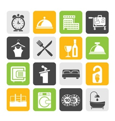Silhouette Hotel and motel icons vector image