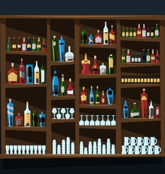 Alcohol shelf background full of bottles vector image