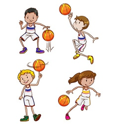 Energetic basketball players vector