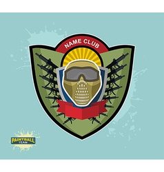 Paintball logo emblem paintball guns and wings vector