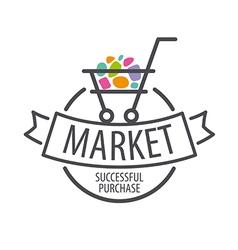 Round logo shopping cart vector image