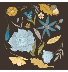 Set of vintage flowers and plants vector