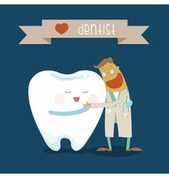Dentist and tooth hug each other vector