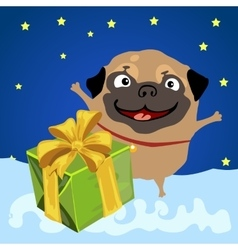 Christmas present from the happy pug vector