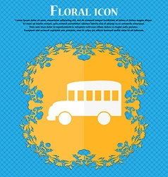 Bus icon floral flat design on a blue abstract vector
