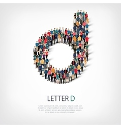 Group people shape letter d vector