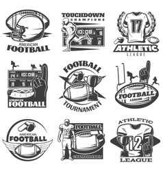American football black white emblems vector