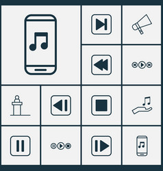 Audio icons set collection of song ui bullhorn vector