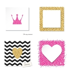 Cards set with glitter pink and golden elements vector