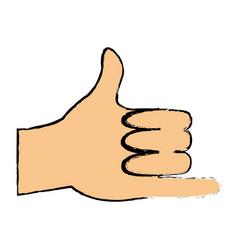 Cartoon hand man shaka gesture icon vector